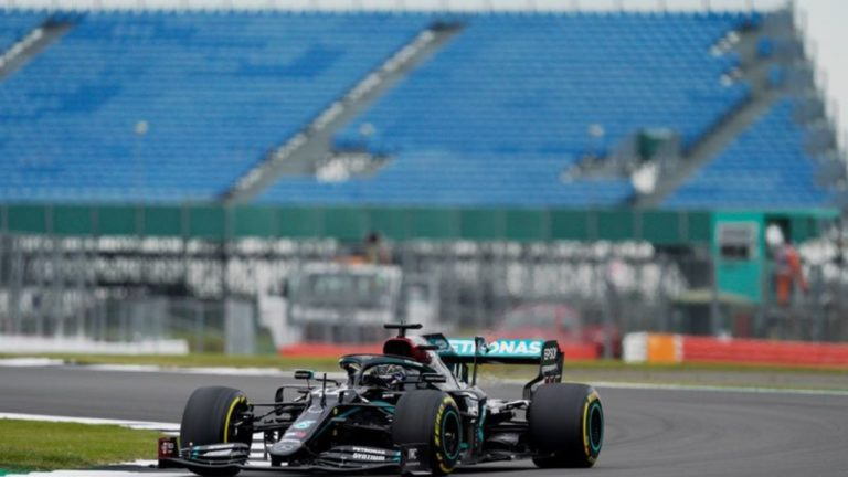 In 70th Anniversary Grand Prix practice, Hamilton is all set to pace.
